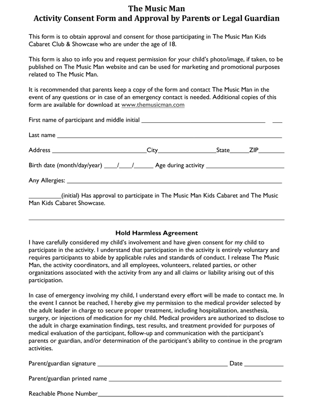 Parent Consent Form Print  The Music Man Singing Ice Cream Shoppe